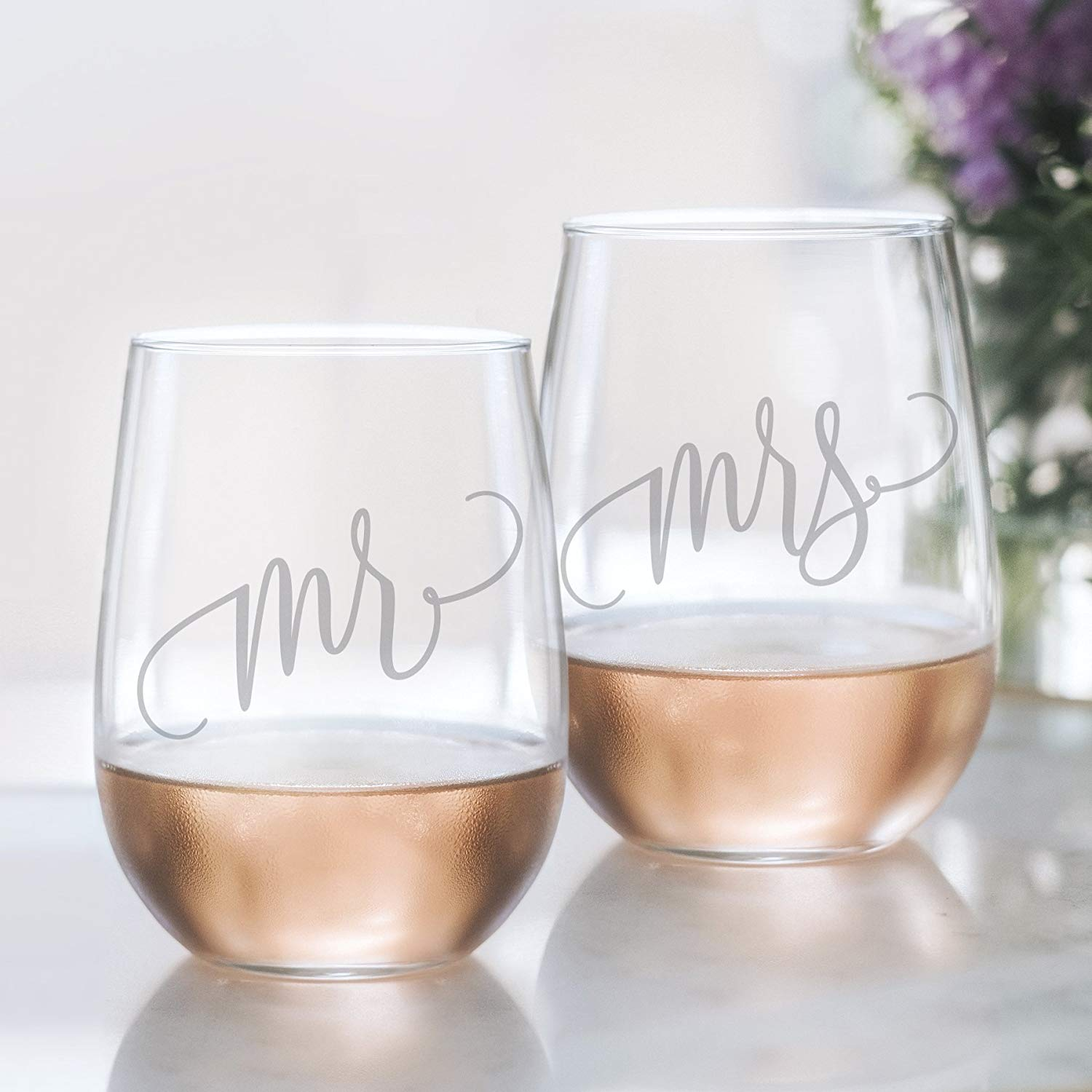 Mr and Mrs Wine Glass Set - 20oz Etched Stemless Wine Glasses for Couples. Perfect Engagement Party, Bridal Shower, Bachelorette Party or Wedding Gift from Bliss Paper Boutique (LEAD FREE & BPA FREE)