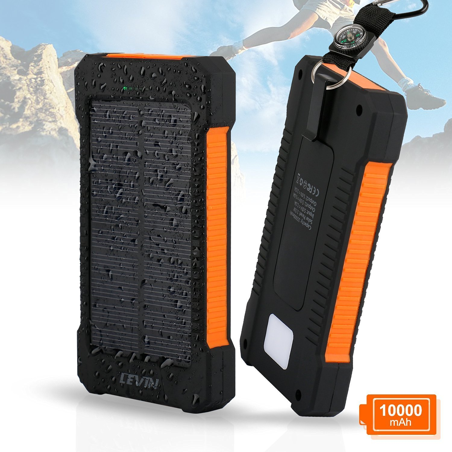Levin Solar Charger 10000 mAh USB Solar Panel Portable Charger for iPhone, Android Smart Phone, Windows Phone and Tablets – Orange