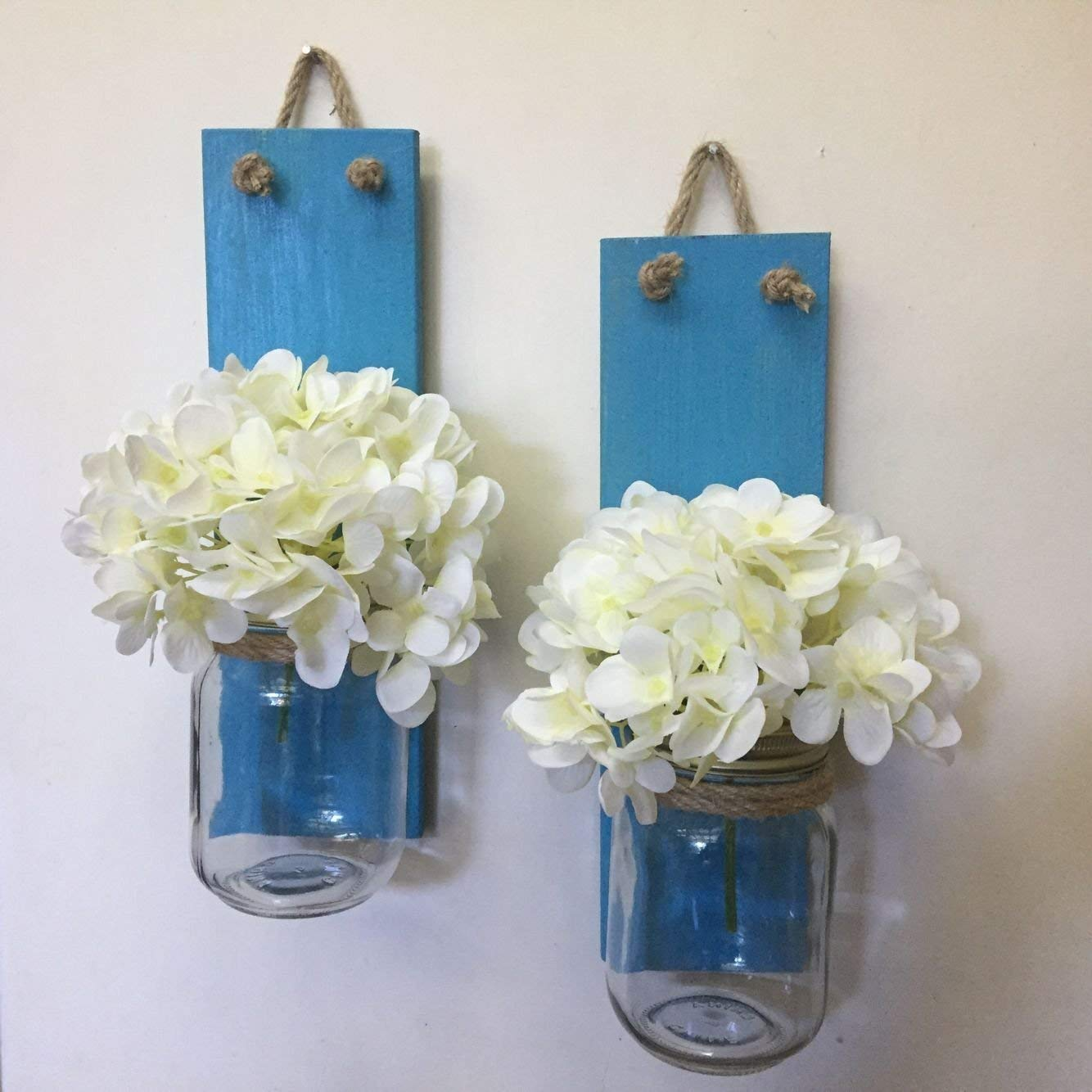 Blue Wood Wall Sconce, Rustic Wall Sconce Wood Candle Holders, Mason Jar Candle Sconce Set of 2 Mason Jar Sconces, Rustic Home Decor