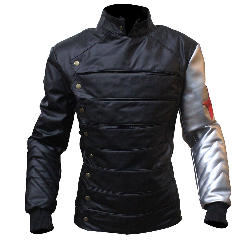 SALTONI Mens Sails Pirate Captain Flint Leather Black Coat Costume