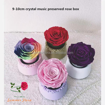 Precious Preserved Real Roses Crystal Ball Music Box For Best Birthday Gift Girlfriend
