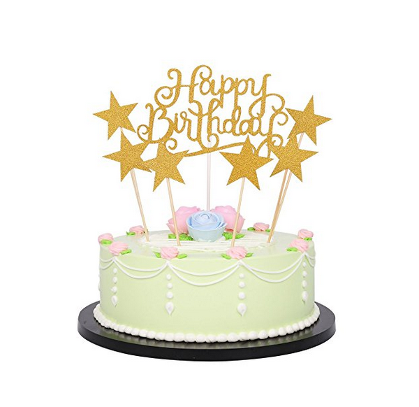 Umiss Paper Gold Glitter Happy Birthday Cake Toppers And Five