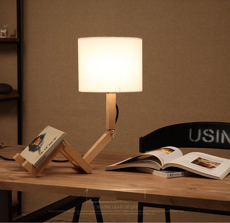 029edbb271b2 Height 50cm Wooden Robot Table Lamp White Lampshade Bedroom Reading Desk  Lamp