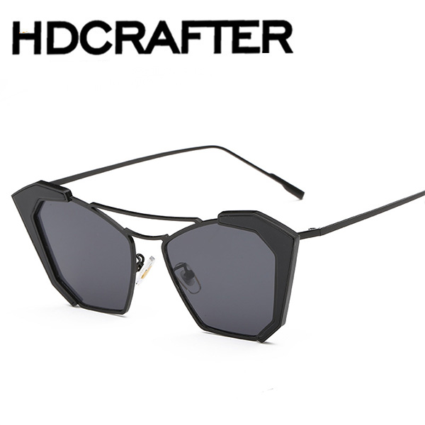 2016 Woman Flat Top Mirror Sun Glasses Cat Eye Sunglasses French brand Fashion Outdoor Summer Style gafas de sol hombre