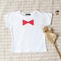 Children s short sleeved T shirt red and white cotton T shirt girl boy T shirt