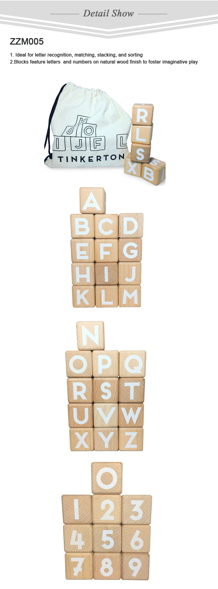 2018 hot sale Blocks feature wooden decoration letter