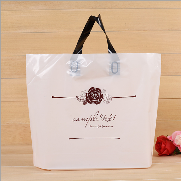 Eco-Friendly Retail Custom Logo Printing White Plastic Shopping Bag With Handle