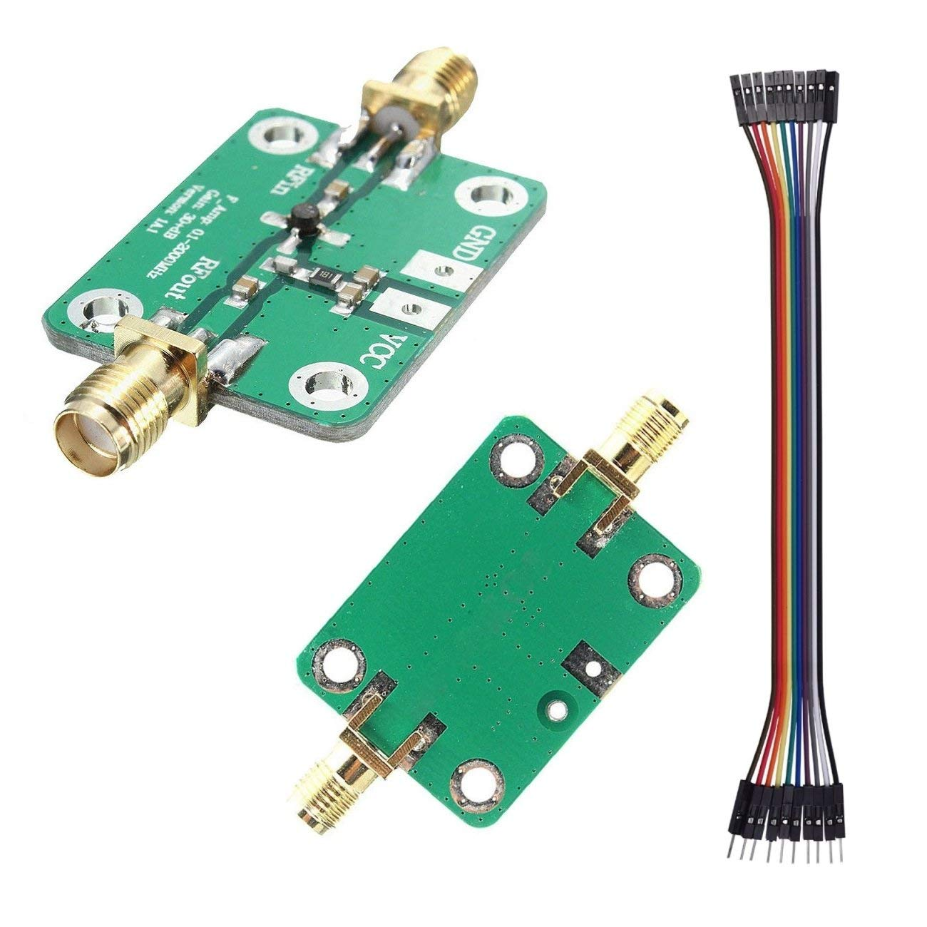 RF Wideband Amplifier 0.1-2000mHZ 30db High Gain Low Noise Board Module(Dupont Cable Included)