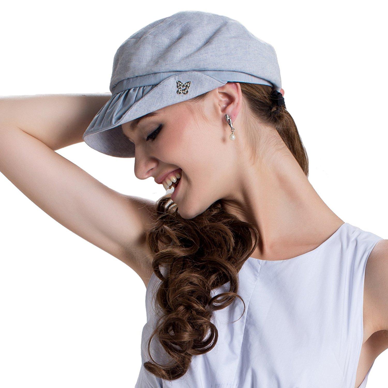 5ba3e900 Get Quotations · LAI MENG FIVE CATS Womens UPF 50+ Cotton Linen Packable  Bucket Sun Hats Summer Newsboy