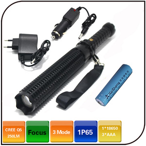 zoomable 10w 1000lm cree xml t6 rechargeable led flashlight