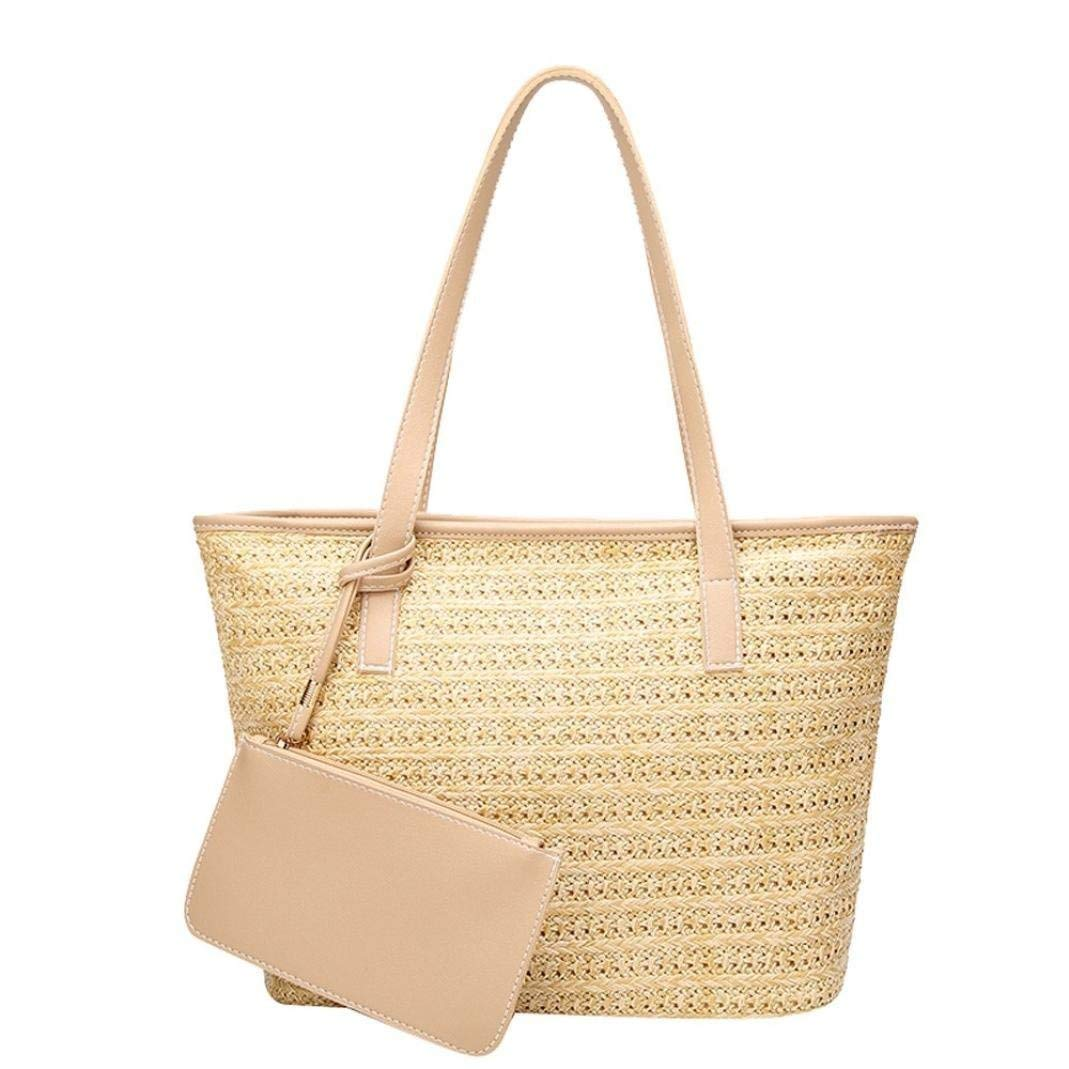 1cb47cae932c Get Quotations · Bucket Bags Womens Straw Handbags Purse Woven Totes  Shoulder Bags (Beige)