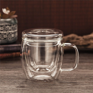 Heat-resistant transparent office glass tea cup set with cover filter