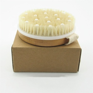 Natural bamboo dry body bath massage brush for set