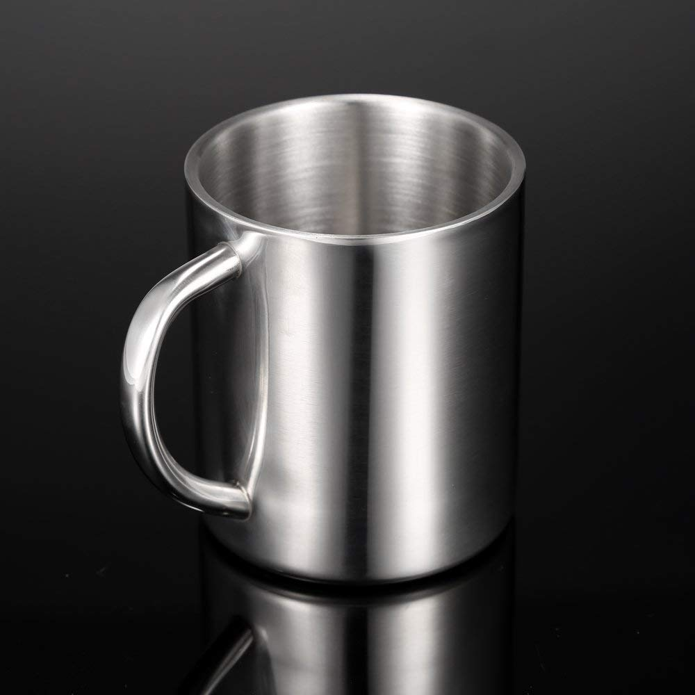 Backpacking mug Double-Wall Stainless Steel Drinking Coffee Tea Cup Tub-shaped Beer Mug V6R0 camping mug