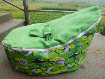 Green Dolphin Pattern Baby Toddler Bean Bag Chair High Quality Kids Beanbag With 2 Upper