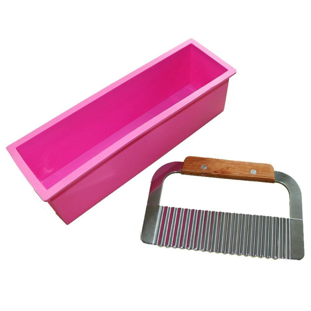 Allforhome Pro. Rectangle Silicone Soap Mold Loaf Wavy Stainless Steel Soap Cutter Slicer Makes