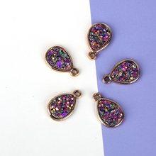 6 шт./лот круглые подвески в форме капли из смолы, сверкающие Подвески, браслет, сделай сам, ювелирное изделие, аксессуары золотистого цвета(Китай)