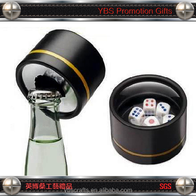 Wine Bottle Novel Style Leather Dice Cup with Bottle Opener