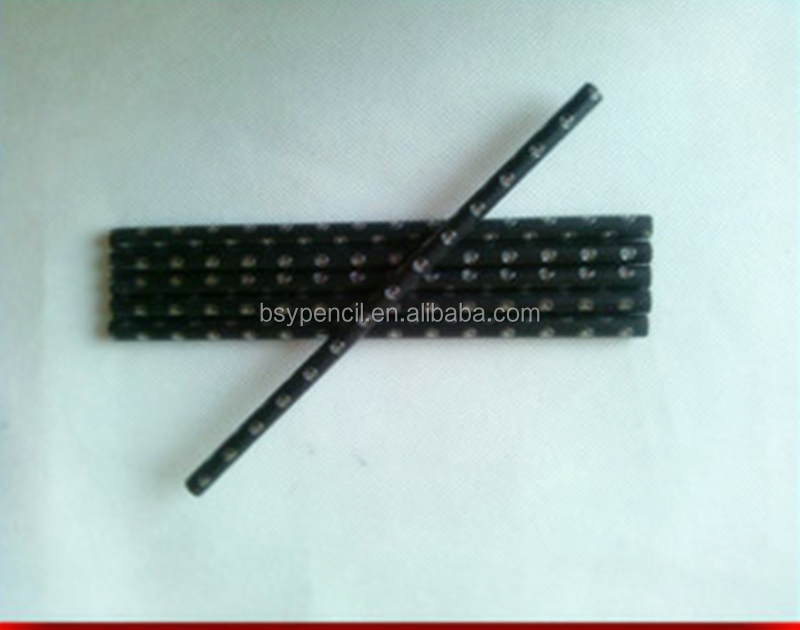 round shape all black wooden pencil