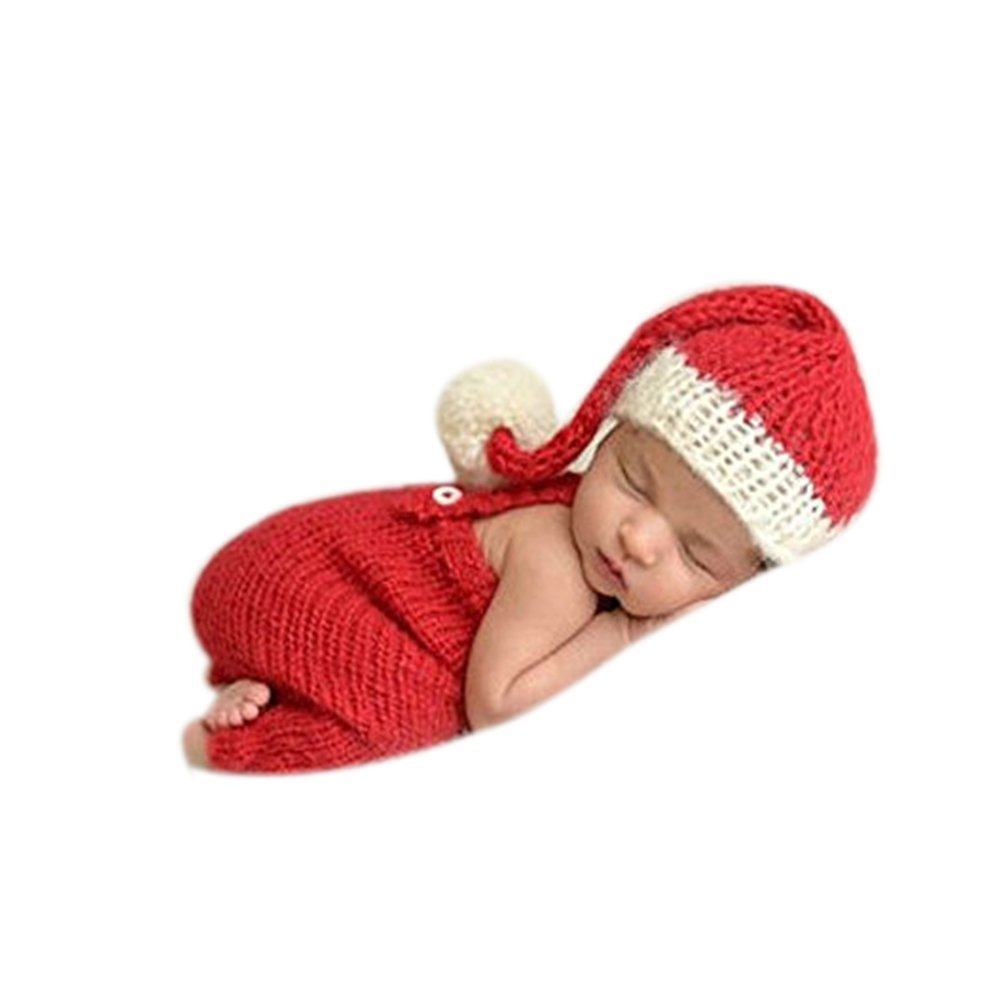 c70a07bd3cb6 Newborn Photography Props Baby Boy Girl Photo Shoot Outfits Knitted Crochet  Costumes Christmas Hat Pants