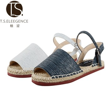 bf567b2f8866 2017 Comfortable Peep Toe black and white espadrille sandals flats women  espadrilles metallic flat sandals for