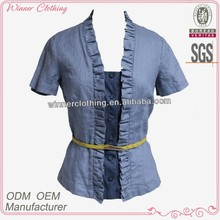 Lady's OEM/ODM Manufacturer New Modern Short Style Cotton Denim Tops Women Front Open Blouse