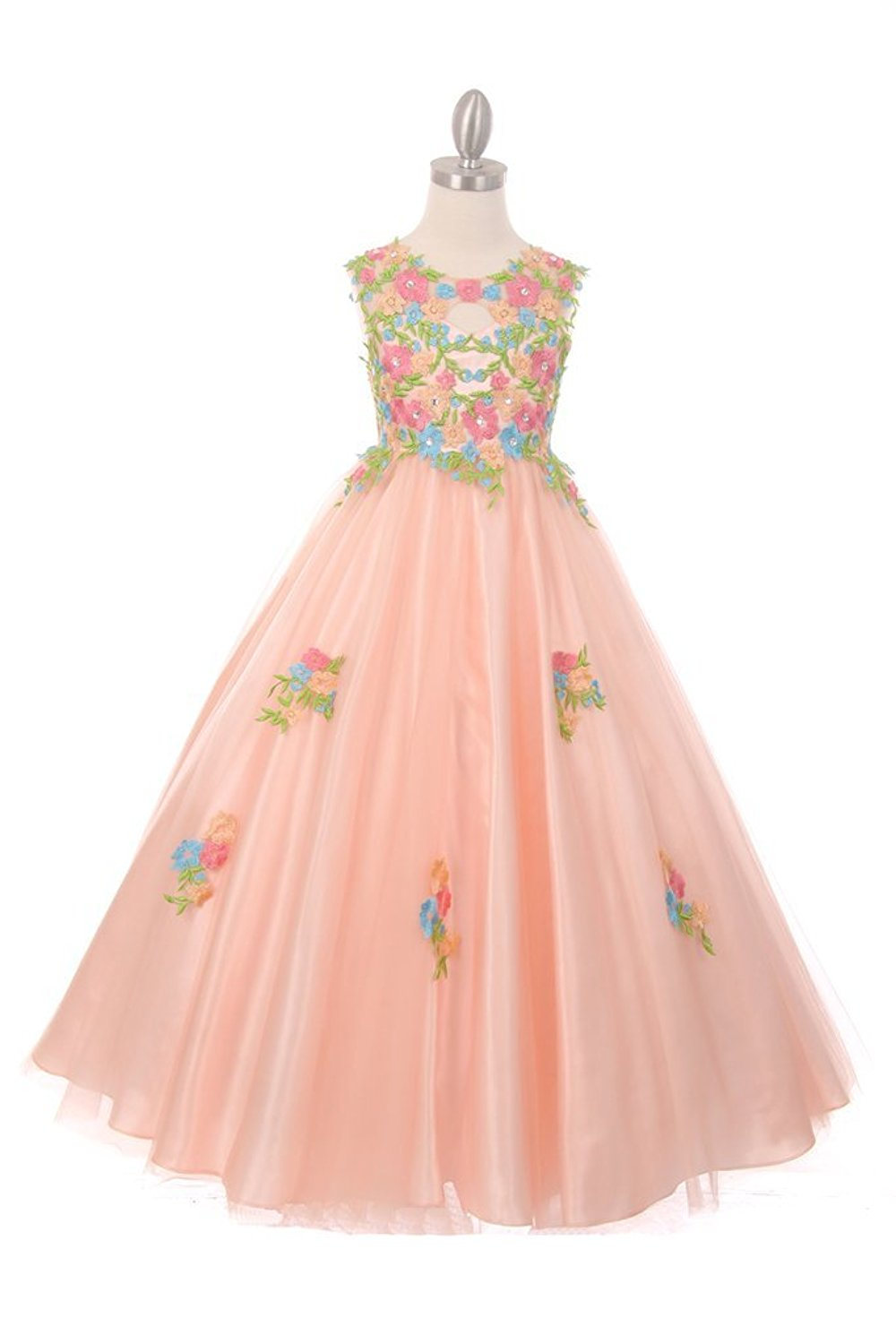 The Couture Dresses Beautiful All Over Hand Placed and Sewn Flower Embroidery Lace Dress, Blush 8