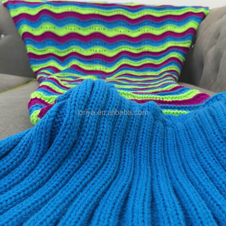 Hot-selling mermaid knitted large waves blanket mermaid tail blanket for adults