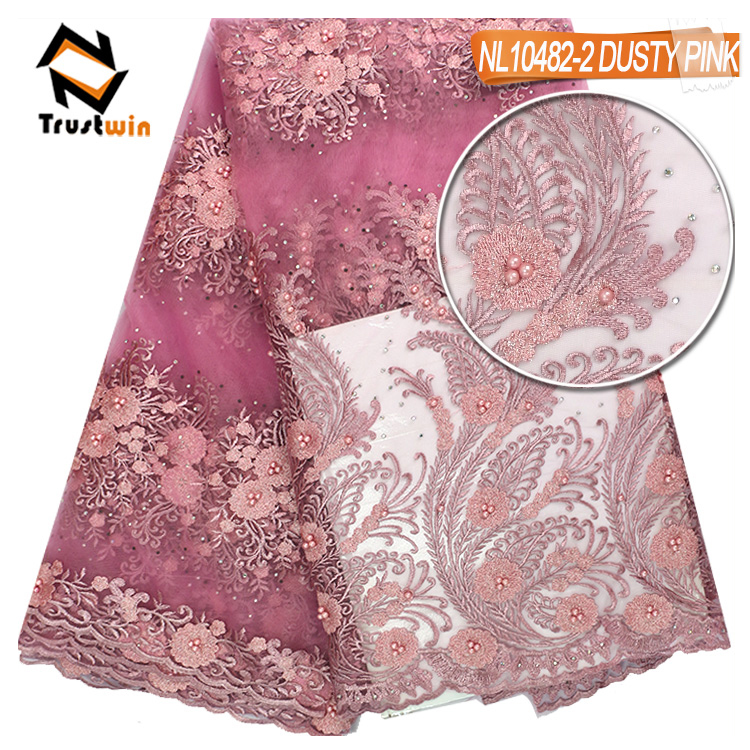Heavy beaded tulle lace fabric