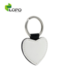 High Quality PU Leather sublimation Keychain of heart shape
