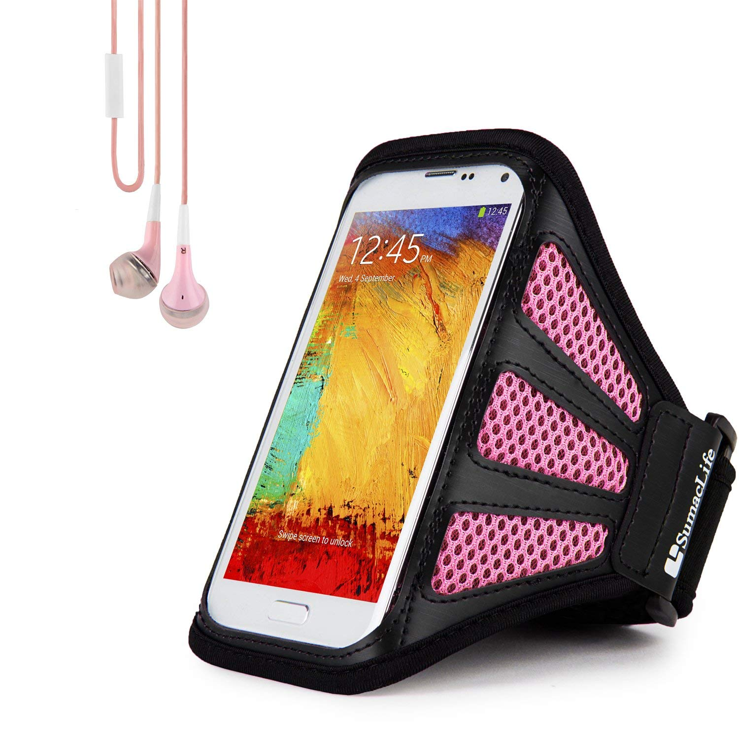 Get Quotations · Sweat/Water Resistant Pink Mesh Workout Armband with  In-Ear Stereo Earphones Suitable for