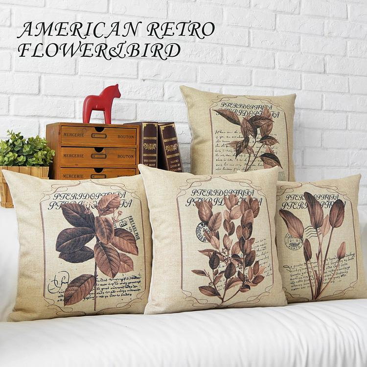 Free Shipping Linen Throw Pillow Hot Sale New Fashion Wedding Decor 45cm American Retro Brown leaves Boho Home Sofa Car Cushion