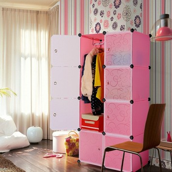 Muti Use Interlocking Diy Plastic Storage Cupboard Cabinet Unit With Hanging Clothes Rail Fh