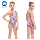 Colorful Sublimation Printed competition racing swimming sportswear kneeskin one piece swimwear for girls kids