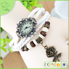 Real Cow Leather Bracelet Watch,Flower Watch Case Watch,Vintage Braided Learher Rose Flower Pendant Lady Watch