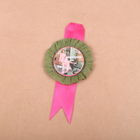 Cheap custom design printing round button Ribbon Badge rosette badge