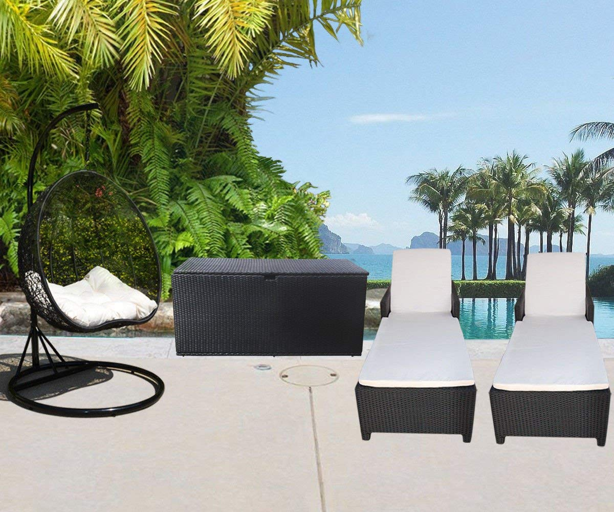 PROLINEMAX 4 PC Outdoor Garden Patio Set Wicker Furniture #1 Hanging Rattan 2 Person Egg Shape Swing Chair Sunbed Sun Bed Lounge Chair Storage Box Chest Deck Poolside Storage Box