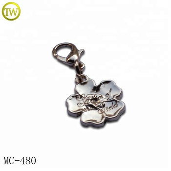 Fashion flower key tags design custom silver color jewelry charms for bracelet