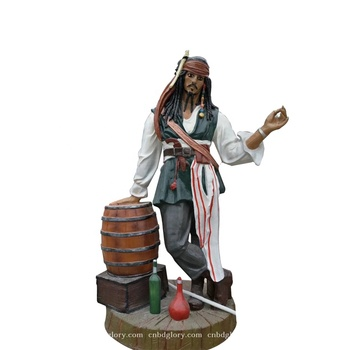 New product fiberglass Movie action figure captain Jack statue