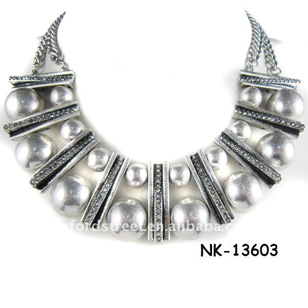 metal chain necklace with silver CCB NK-13603