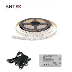 New design 2.4g zigbee rgb+cct dimmable led controller +5in1 SMD 300 LED Strip 5050 RGBW Dual White Temperature adj+power supply