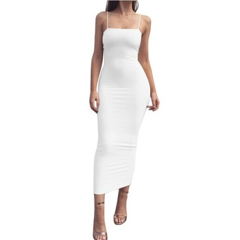Sexy Bodycon Maxi Dress Women Sleeveless Strapless Backless Black White Red Party Spaghetti Strap Long Ladies Dresses KJZ461