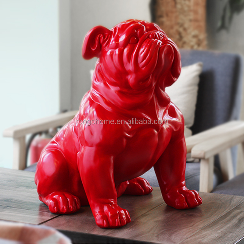 ROOGO Europe and america hot sale royal canin imitate french bulldog resin statue home garden park office decoration