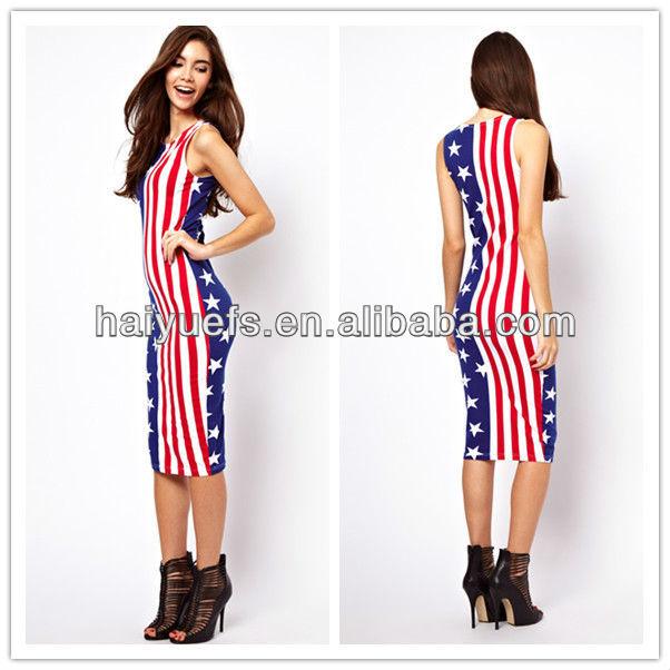 593cb518a نموذج العلم أمريكا 2013 صيف جديد أكمام اللباس ماكسي عارضة-فساتين غير ...