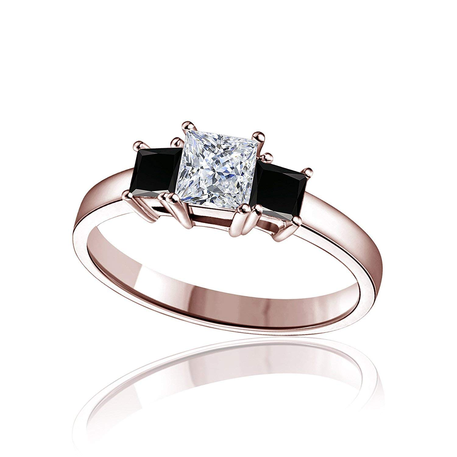 TVS-JEWELS Princess Cut Lab Created Three Stone Ring In 925 Sterling Silver 14k Rose Gold Plated
