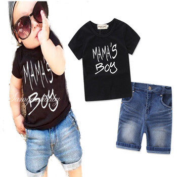 f5de467f5 Children Clothing Boys Clothes Summer Set Boys T shirt Denim Shorts Jeans Mamas  Boy Lettered Black