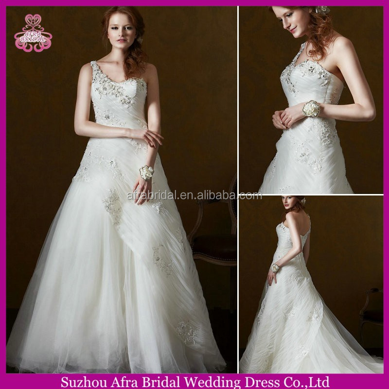 SD1548 one shoulder puffy tulle cheap wedding dress bling wedding dresses ball gown