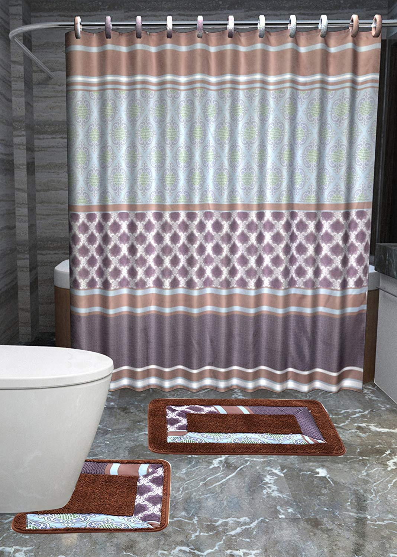 15-Piece Bathroom Accessory Set 2 Bath Mats Shower Curtain /& 12 Rings ^Leopard