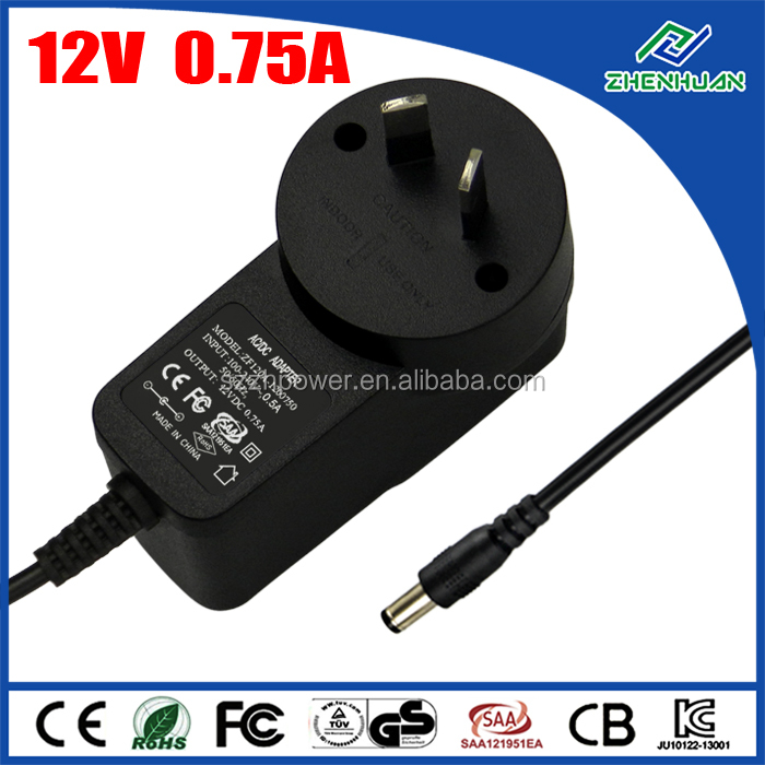 Variable power supply 12V 0.75A wall power adapter with AU plug