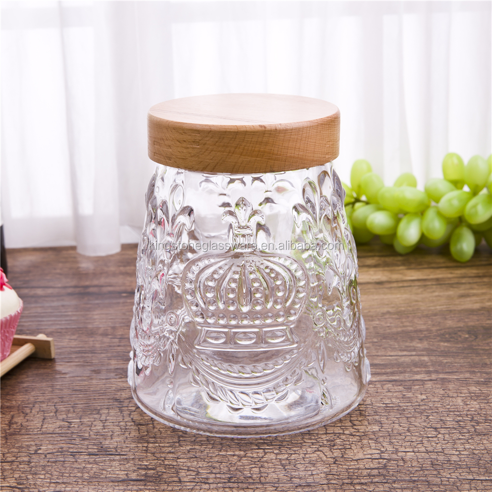 OEM/ODM Custom Transparent Big Cheap Glass Honey Jars with Wooden Lid